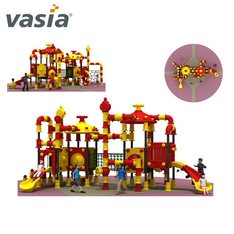 Used large-scale outdoor playground equipment plastic slides for children made in china VS2-161028-32